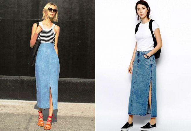 длинная джинсовая юбка карандаш