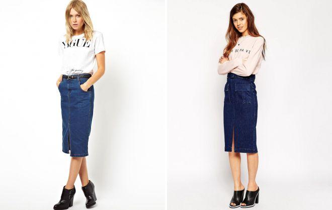 джинсовая юбка карандаш с карманами