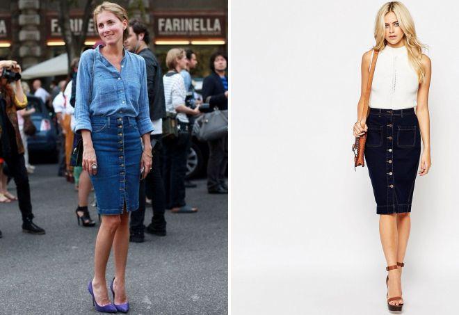 джинсовая юбка карандаш на пуговицах спереди