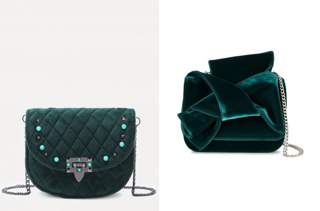 зеленая бархатная сумка