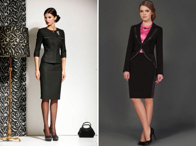 женский черный строгий костюм
