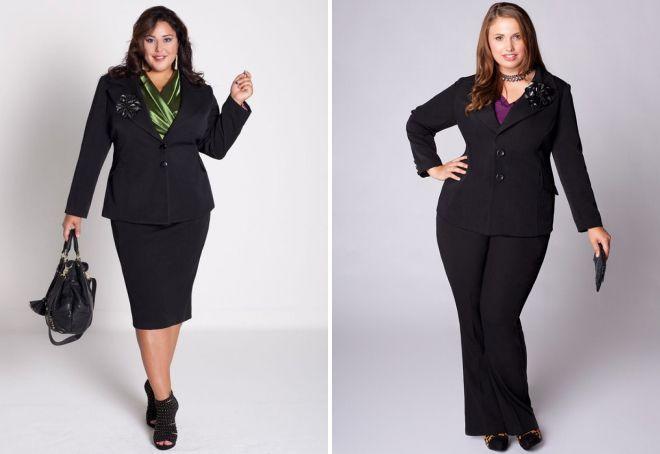 черные костюмы для полных женщин
