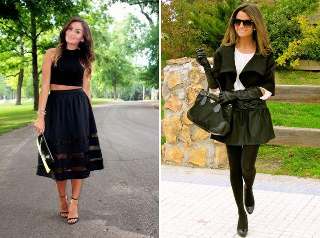 женские образы с черным юбочным костюмом