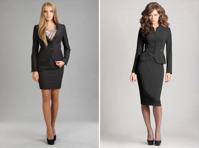 женский черный классический костюм