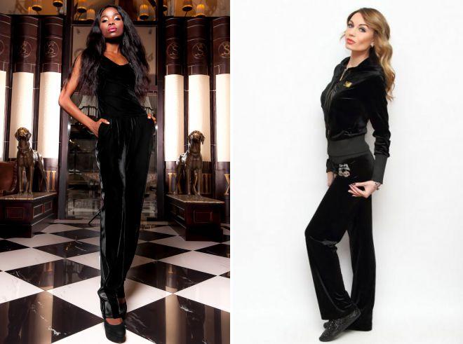 женский черный бархатный костюм