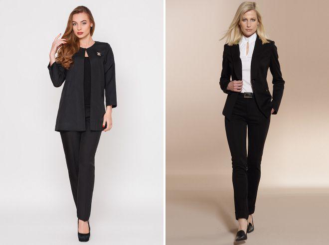 женский черный деловой костюм