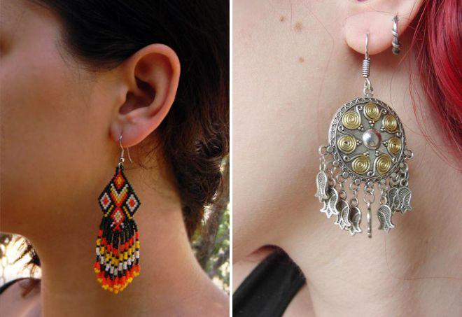 boucles d'oreilles de style ethnique