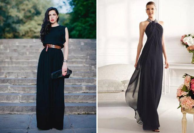 984d2764e44 Черное вечернее платье в пол. длинные вечерние платья черного цвета