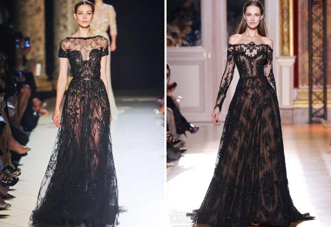 черное вечернее кружевное платье
