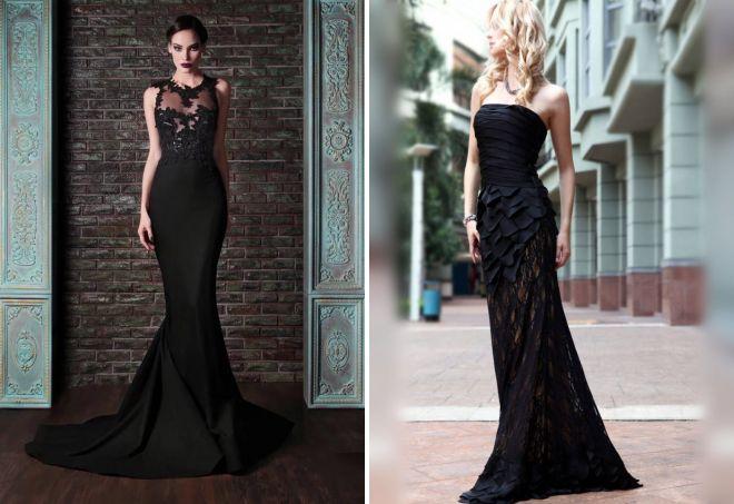 вечернее черное платье с кружевом