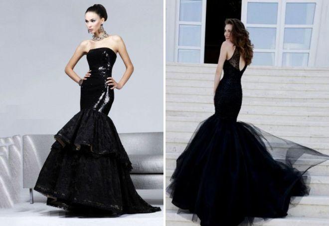 вечернее черное платье русалка