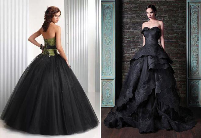 черное вечернее пышное платье