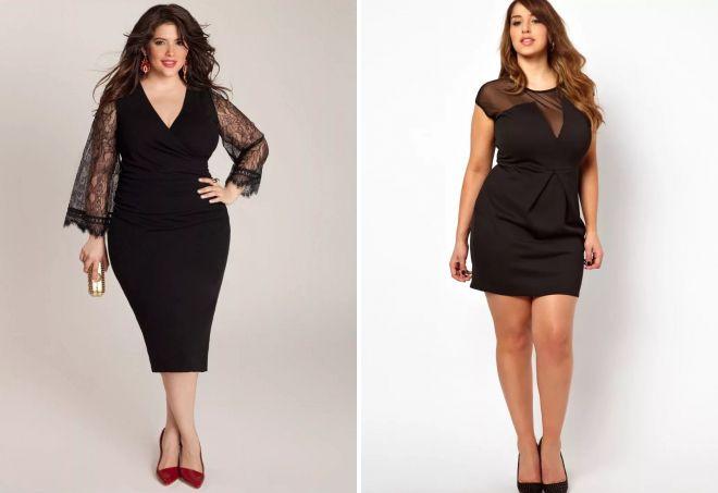 вечерние черные платья для полных