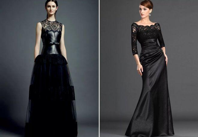 шикарное черное вечернее платье