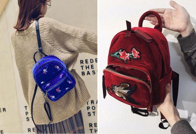 addae43d5079 Женские маленькие рюкзаки для девушек – кожаные и бархатные ...