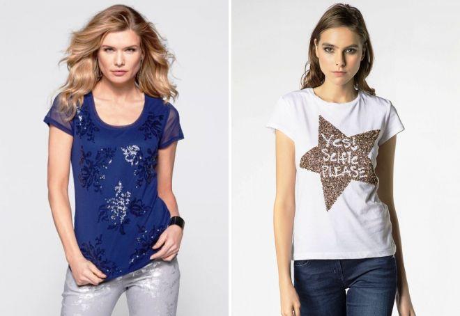модные футболки с пайетками