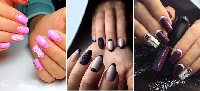 Красивый маникюр с лунками – на короткие и длинные ногти, яркий, нежный, красный, со стразами, блестками, рисунком, френч, треугольный лунный маникюр 2019
