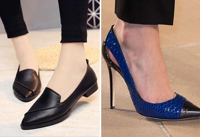 кожаные туфли с острым носком