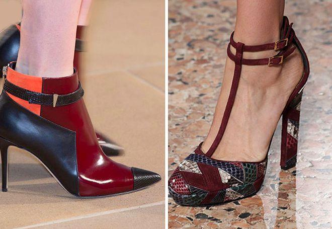 кожанные комбинированные туфли