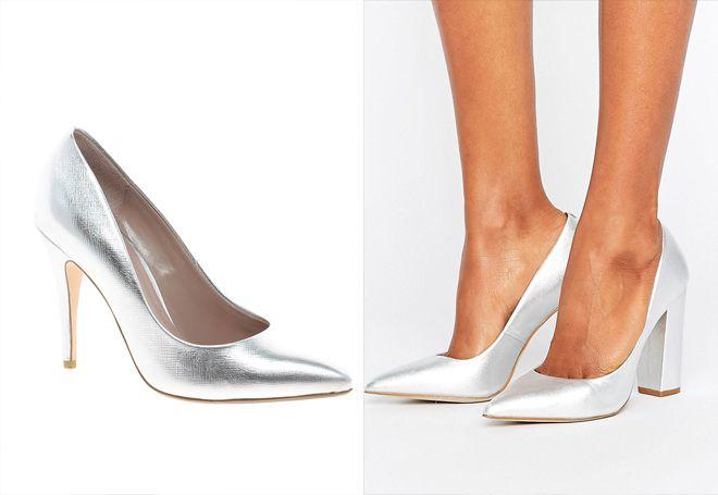 женские кожанные туфли металлик
