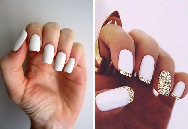 Белый френч-139 фото идей дизайна ногтей 49