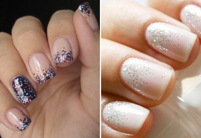 Короткие ногти дизайн с блестками фото