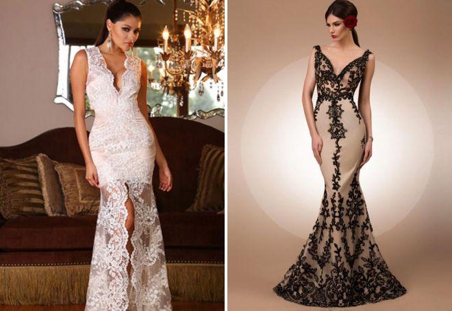 кружевное платье с декольте