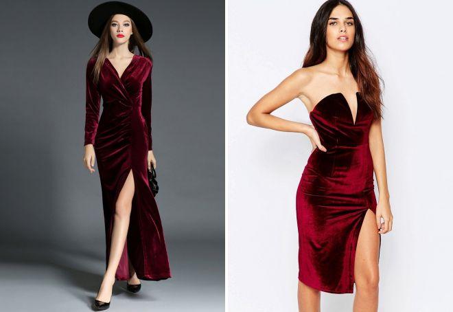 бархатное платье с декольте