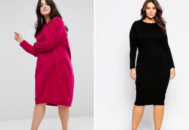 теплые платья для полных женщин