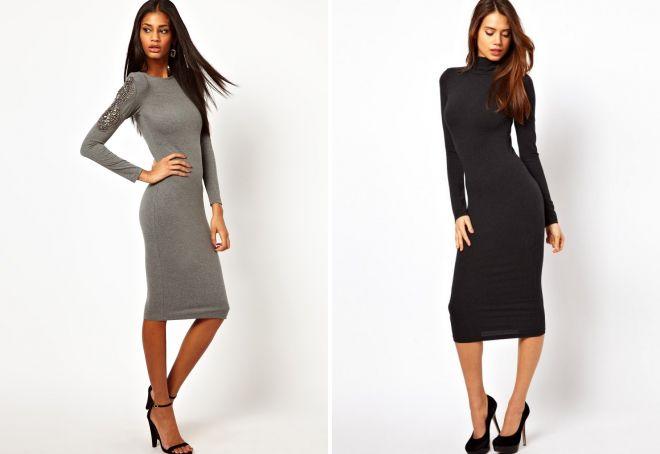 модные теплые платья