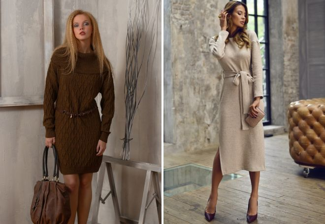 повседневные теплые платья на осень и зиму