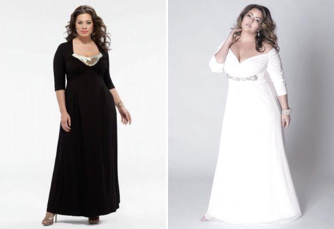 фасоны вечерних платьев для полных