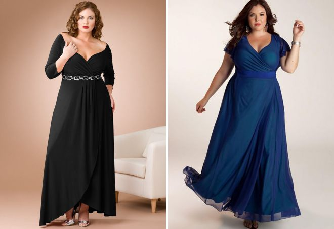 фасон вечернего платья для полных женщин