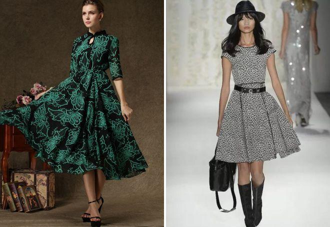 платье в стиле ретро с пышной юбкой
