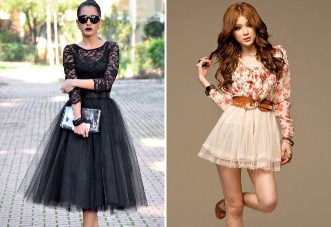 платье с длинным рукавом и пышной юбкой
