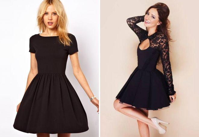 пышное короткое черное платье
