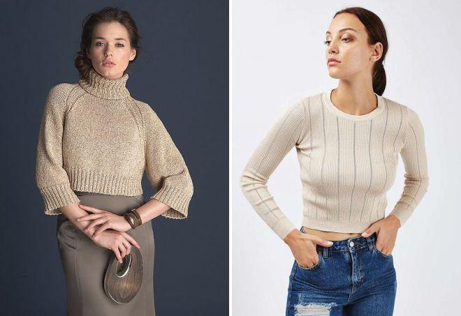 короткий бежевый свитер