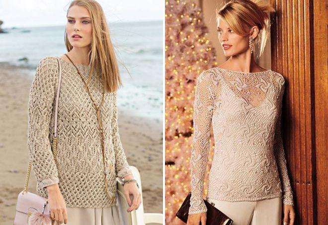 модный бежевый свитер