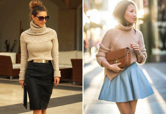 бежевый свитер и юбка