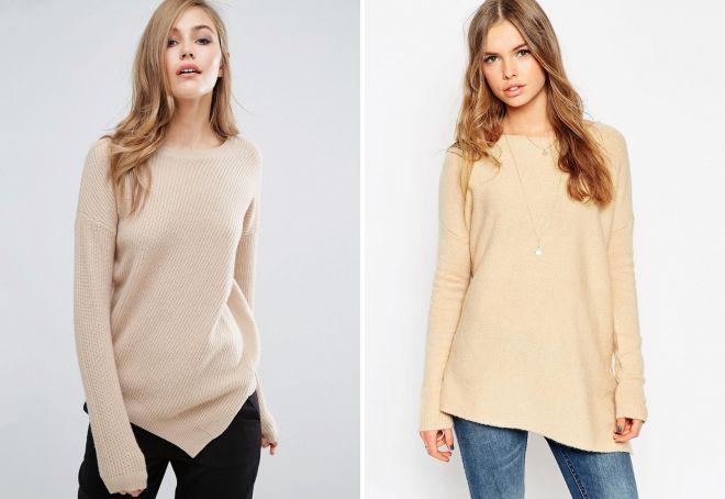 стильный бежевый свитер