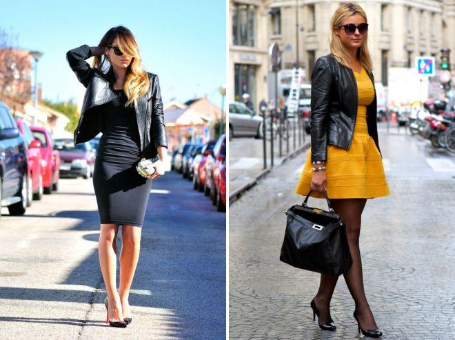 платье и черная кожаная куртка