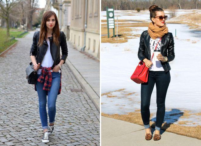 джинсы и черная кожаная куртка