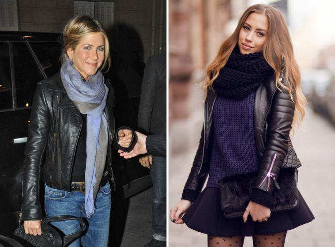 шарф к черной кожаной куртке