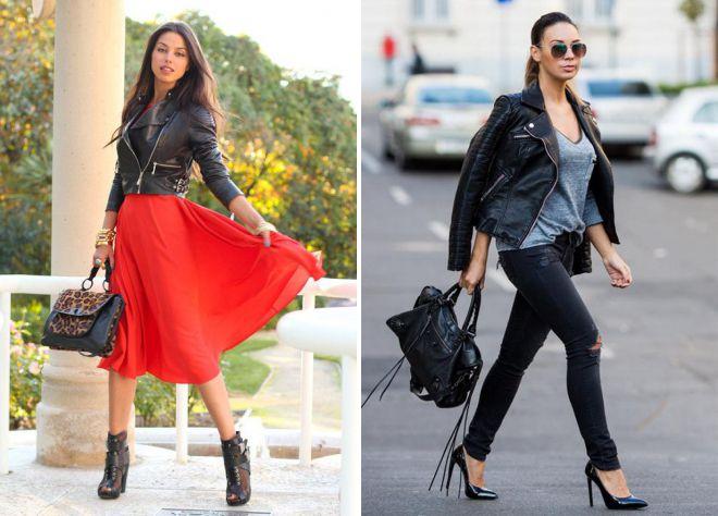 с чем носить кожаную черную куртку женщине