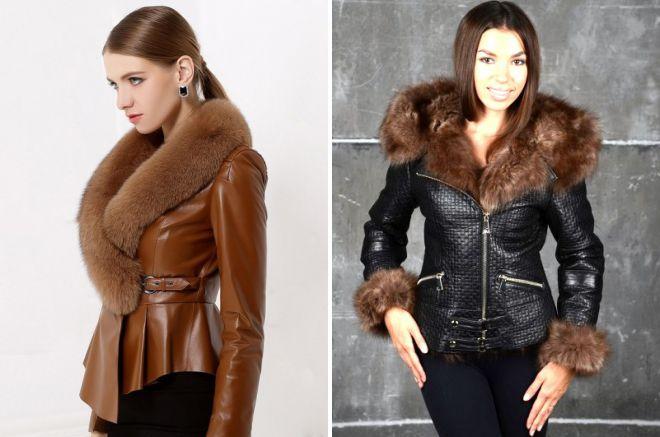 женская короткая кожаная куртка с мехом