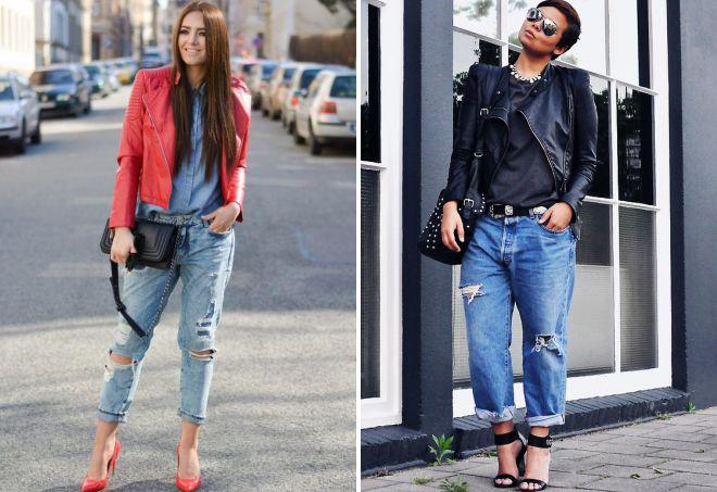 женская косуха с джинсами