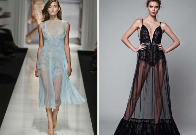 платье с прозрачной юбкой
