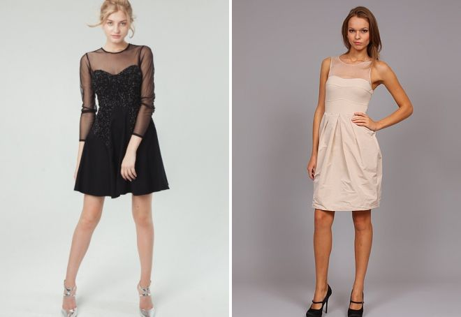 платья с прозрачным верхом