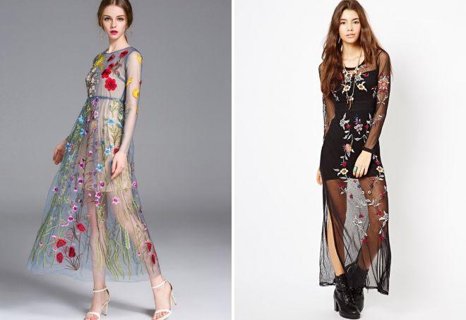 прозрачное платье с вышивкой