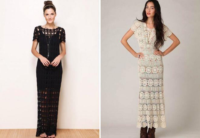 длинное вязаное летнее платье
